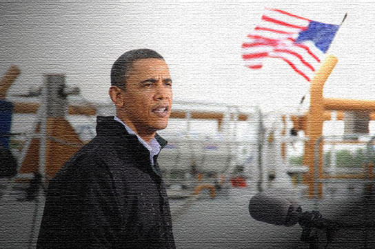 Obama tours oil spill oil painting May 2 UPI