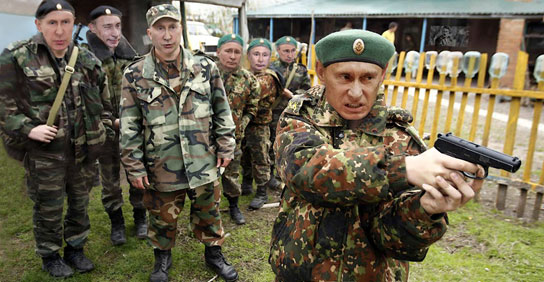 Putin sends Putin cadets into action.